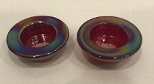 2 Glass Irridescent Votive Candle Holders Reds Purple Beautiful 1� High 3� Wide