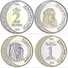 SAUDI ARABIA SET 2 BI-METALLIC COINS 1 2 RIYALS 2016 KING SALMAN UNC