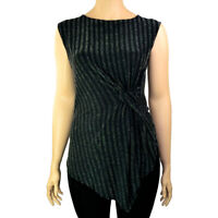 EX.DEBENHAMS BLACK  METALLISED STRIPE SLEEVELESS ASYMETRIC TOP Sizes 10 16 18 22