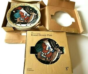 "8 pc Ceramic 8"" Round Dessert Plate Set Santa & Reindeer Christmas Theme piece"