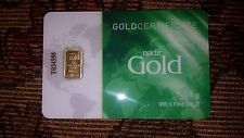 Gold Bar 1 gram Nadir Gold Certificate 999.9 fine Gold Serial Number: T034588