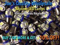 (5)BAYONET LED-LAMP/6.3V AC-COOL BLUE- STEREO-BA9s/SA700,SA600,SA500/Technics