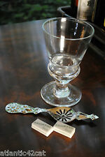 Pontarlier Absinthe Glass Set, Henriod Spoon, Sugar Cubes, Blown Crystal