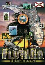 State Map of Florida, Sunshine State, Great Seal, Alligator, Dolphin -- Postcard