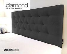 DIAMOND LOW RISE Upholstered Bedhead for King Single Size Ensemble - BLACK