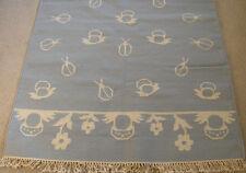 Fantastic Hand Woven Rug Carpet Area Rug Beetles Mushrooms 4x6 B & W  Wool LN