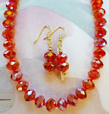 """SPARKLING RED FACETED GLASS RONDELLE necklace, earrings 18"""" plus extender"""