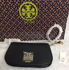 NWT Tory Burch Britten Convertible Clutch Crossbody Bag, Black Leather 39055