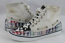 Sperry Top-Sider Plaid Floral High Top Shoes Womens Size 6.5