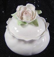White Bone China Rosa Collection Dresser Jar Pintar Philippines Vintage Roses