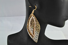 Leaf Drop Earrings Gold Colour With Diamante Crystals