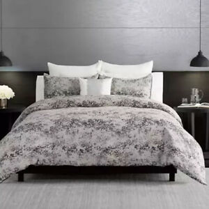 Vera Wang Midnight Chenille Comforter Set With Shams Queen Gray White New