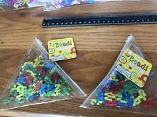4 Zipper Pouches Plastic Alphabet Beads Letter Charms Primary & Pastel
