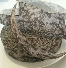 1m grosgrain ribbon 22mm green brown & grey camouflage pattern