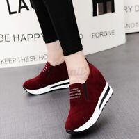 Women Leisure Platform Hidden Wedge Heels Shoes Slip on Sneakers Sport