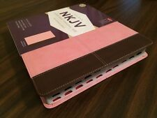 NKJV Large Print Reference Bible Indexed- $39.99 Retail - Pink / Brn Leathersoft