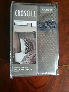 CROSCILL Ryland European Sham Brown Blue Bronze Metallic