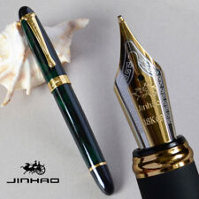 New Jinhao X450 Luxury Dark Green Fountain Pen 0.7mm Broad Nib 18KGP Golden Trim