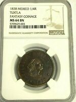 1838 MEXICO 1/4 REAL, TUXTLA Rare Private Issue Coin, NGC MS-64 BN, Pop 2/1