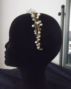 PEARL CRYSTAL HEADBAND BRIDAL HAIR ACCESSORY, GOLD,SILVER,WHITE,IVORY COLOR,AUST