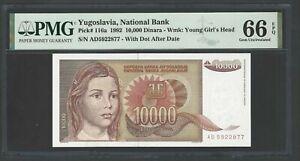 Yugoslavia 10000 Dinara 1992 P116a Uncirculated Grade 66
