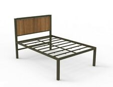 Bronze Full-Size Powder Coated Steel Bed Frame with Clear Walnut Headboard