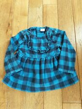 Girls Hanna Andersson Blouse Shirt Buffalo Check Blue Long Sleeve Flannel Sz 90