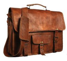 "PSB Vintage Leather Laptop Bag 15"" Messenger Handmade Briefcase Crossbody Bag"