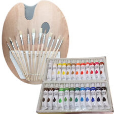 Artist 24 ACRYLIC COLOR Painting Paint Set + 12 Brush Set with Wood Palette SET