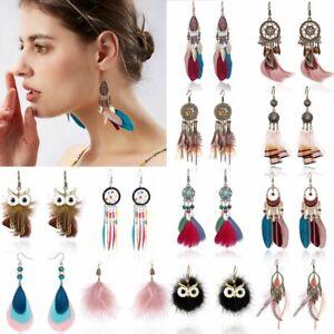 Fashion Women Boho Feather Long Tassel Owl Earrings Wedding Bridal Jewelry Gifts