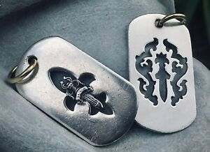 Chrome Hearts Dual Pair Vintage Sterling and 18K Cutout Dog Tags RARE Design