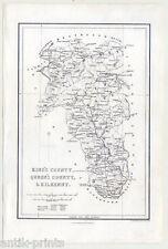 Dkilkenny-King 's County-Queen' s County-IRLANDA-IRELAND-Map - Mappa-ACCIAIO CHIAVE 1840