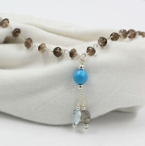 Cabochon Oval Smoky Quartz Turquoise Necklace 925 Sterling Silver Jewelry KN2779
