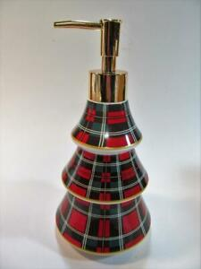 PLAID CHRISTMAS TREE Soap Lotion Dispenser 3 Red & Green Tiers with Gold Pump
