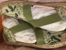 Tory Burch Catalina Espadrille Sandals Watercolor Botanical Leaf Green Size 10.5