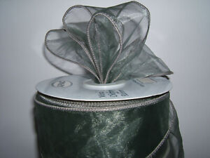 70mm Grey Wired Organza Ribbon Extra Wide