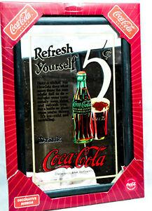 """Coca Cola, Werbespiegel in Kunststoffrahmen schwarz """"Refresh yourself"""""""