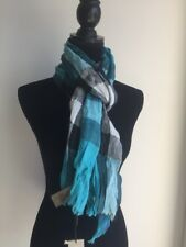 BURBERRY Women's Men's Cyan Green Giant Exploded Linen Check Scarf  NWT
