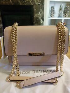 Michael Kors Jade Soft Pink Leather Gusset Chain Shoulder Crossbody Bag $228