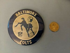 VINTAGE 1960's Baltimore Colts NFL Football  Pinback Button Pin 3 1/2