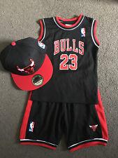 BABY Kids NBA Basketball Jersey Top Shorts Black Bulls #23 Michael Jordan