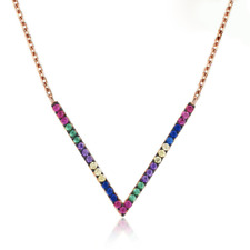 Sterling Silver Pink Gold A Deco MultiColor Rainbow Sapphire V Pendant Necklace