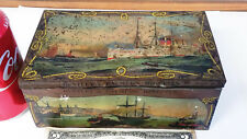 Vintage tin HUNTLEY & PALMERS BISCUITS ships boats port0 litho Reading London UK