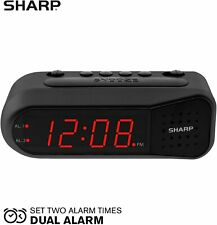 Sharp Electric Digital Dual Alarm Clock Battery Backup LED Large Display Snooze