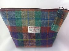 lady's  woman's Harris tweed  peppermint orange tartan toiletry  bag wash bag