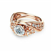 Women Wedding Ring Rose Gold Filled Round Cut White Sapphire Ring Size 6-10