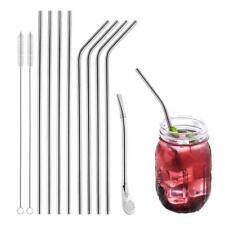 12er-Set Trinkhalm aus Edelstahl Wiederverwendbar Strohhalme Cocktails Getränke