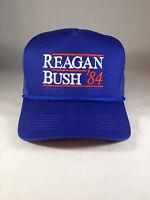 Reagan Bush 84 Hat Trucker Style Blue Cap Embroidery Meshback Snapback USA