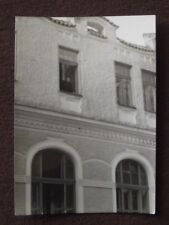OLD WOMAN LOOKING OUT 2ND STORY WINDOW OF STONE BUILDING Vintage PHOTO
