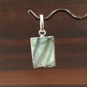 Natural Rainbow Labradorite Silver Electroplated Necklace Pendant Making Jewelry
